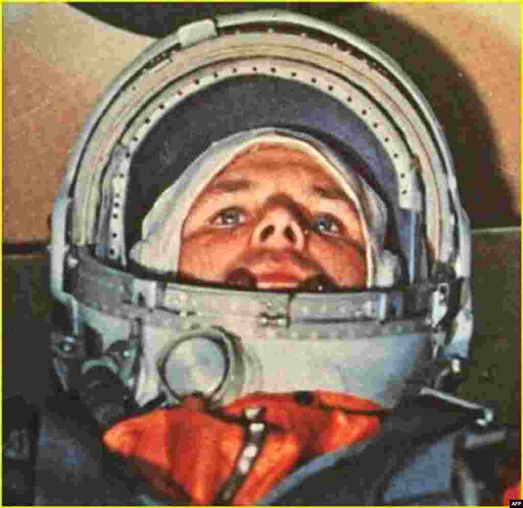 Gagarin in the Vostok-1 command capsule