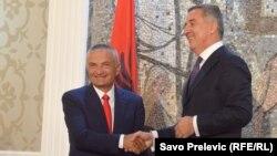 Albanian President Ilir Meta (left) with the prime minister of Montenegro, Milo Djukanovic, in 2016
