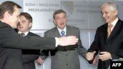 Članovi Predsjedništva BiH pri imenovanju Nikole Špirića za predsjedavajućeg Vijeća ministara, 4. januar 2007