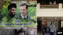 تصویری از بشار اسد، رئیس جمهور سوریه و حسن نصرالله، رهبر حزبالله لبنان در سوریه
