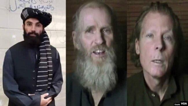 انس حقانی (چپ) عضو گروه طالبان و دو استاد پوهنتون امریکایی افغانستان که از سوی طالبان ربوده شده اند.