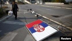Zastava Srbije u severnom delu Kosova - ilustracija