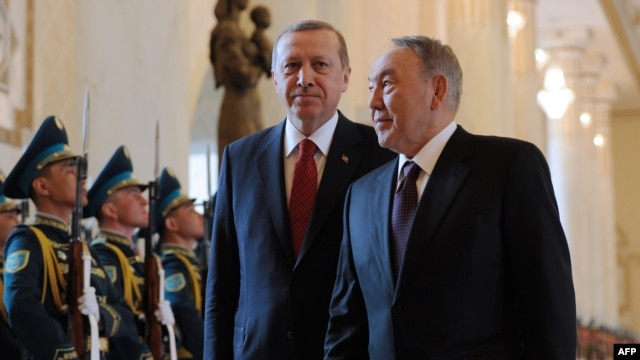 Kazakh President Nursultan Nazarbaev (right) and his Turkish counterpart Recep Tayyip Erdogan review a guard of honor during during the latter's visit to Astana earlier this year. Ankara has cultivated close relationships with the Turkic peoples of Central Asia since the collapse of the Soviet Union.