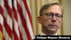 Brian Hook, U.S. special representative for Iran, talks to reporters in Paris on June 27. (file photo)