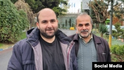 محمد مساعد در کنار پدرش، ۱۶ آذر ۹۸