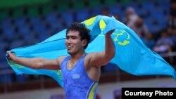 Казахстанский борец греко-римского стиля Максат Ережепов, ставший чемпионом Азии. 10 мая 2017 года.