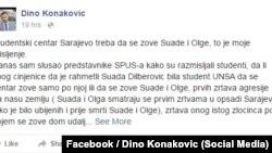Post Dine Konakovića na Facebooku
