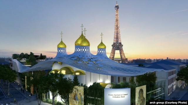An artist's impression of the proposed Cultural and Spiritual Russian Orthodox Center on the Place de la Resistance, in Paris.