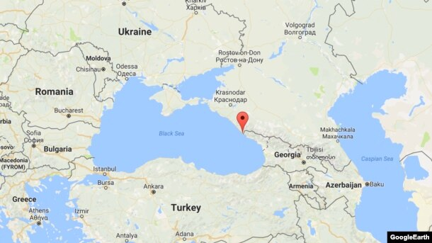 The plane crashed shortly after taking off from Sochi on the Black Sea (marked on map) where it had stopped for refuelling.