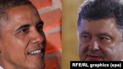Президент США Барак Обама (слева) и президент Украины Петр Порошенко.