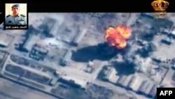لقطة عرضها التلفزيون الاردني لقصف استهدف احد مواقع داعش