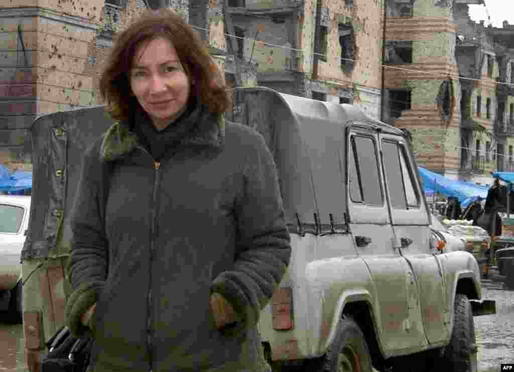 Human rights activist Natalya Estemirova in the Chechen capital of Grozny on September 1, 2004