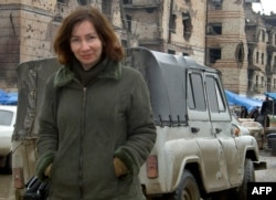 Human rights activist Natalya Estemirova in Grozny in 2004.