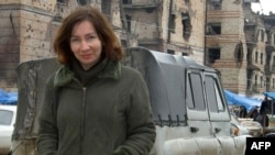 Human rights activist Natalya Estemirova in the Chechen capital of Grozny in September 2004.
