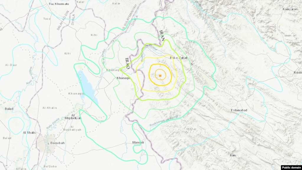 A map from the U.S. Geological Survey showing where the quake hit.