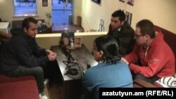 Armenia - Ethnic Armenians who fled violence in Syria are interviewed by RFE/RL's Armenian service in Yerevan, 8Mar2012.