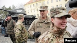 U.S. soldiers arrive in the Polish town of Zagan as part of the NATO deployment on January 12.