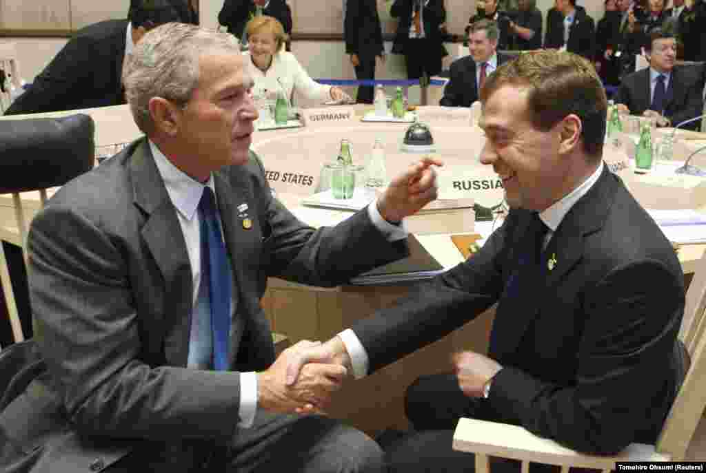 The Russian president meets with U.S. President George W. Bush before the start of a Group of Eight (G8) working session in northern Japan on July 8, 2008. Medvedev cultivated a more pro-Western image than his predecessor, and made gestures toward cracking down on corruption.