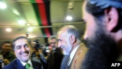 Abdullah Abdullah greets supporters during a gathering in Kabul on November 1.