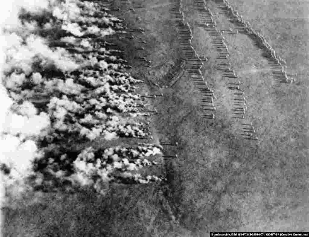 "A German gas attack on the eastern front that was photographed by a Russian airman. The 1916 image was titled, ""German Frightfulness from the Air."""