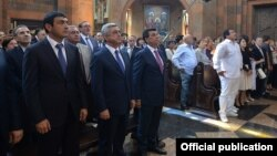 Armenia - President Serzh Sarkisian and businessman Gagik Tsarukian attend the consecration of a newly built church in Nor Hachin, 22Jul2015.