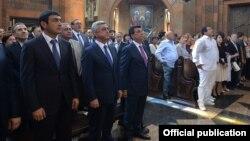 Armenia - President Serzh Sarkisian and businessman Gagik Tsarukian attend the consecration of a newly built church in Nor Hachin, 22Jul2015.