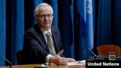 Russian Ambassador to the UN Vitaly Churkin briefing journalists in March