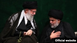 Muqtada al-Sadr greeting Ali Khamenei. September 10, 2019