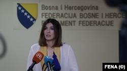 Sabina Ćudić tokom objelodanjivanja fotografija i videosnimaka iz Zavoda