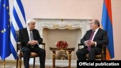 Президент Армении Армен Саркисян встретился с президентом Греции Прокопиосом Павлопулосом, 5 ноября 2019 г.