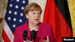 Ангела Мэркель на прэсавай канфэрэнцыі ў Вашынгтоне