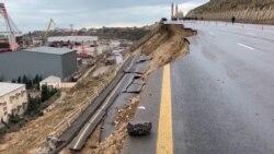 Landslide Destroys Road Near Historic Azerbaijani Mosque