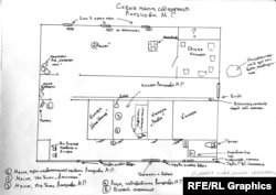 A map drawn by Lapunov of what he says is the cellar in which he was confined and beaten by police in Chechnya