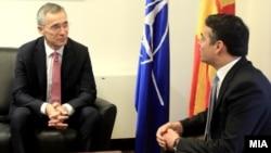 Средба на министерот за надворешни работи Димитров со генералниот секретар на НАТО Столтенберг.