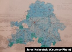 Мапа, дзе Юрась адзначаў раёны, што ён наведаў