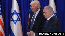 АҚШ президенті Дональд Трамп пен Израиль премьер-министрі Беньямин Нетаньху. Иерусалим, 22 мамыр 2017 жыл.