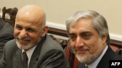 Afghanistan President Ashraf Ghani (L) and Chief Executive Abdullah Abdullah (R) during a meeting with congressional leaders last year.