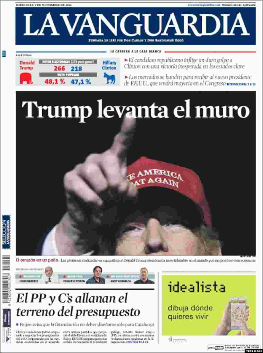 "Spain's La Vanguardia newspaper. The headline reads ""Trump to raise the wall."""