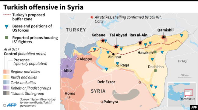 Control of territory in Syria and areas hit by air strikes and shelling as Turkish offensive started against Kurdish people on October 9.