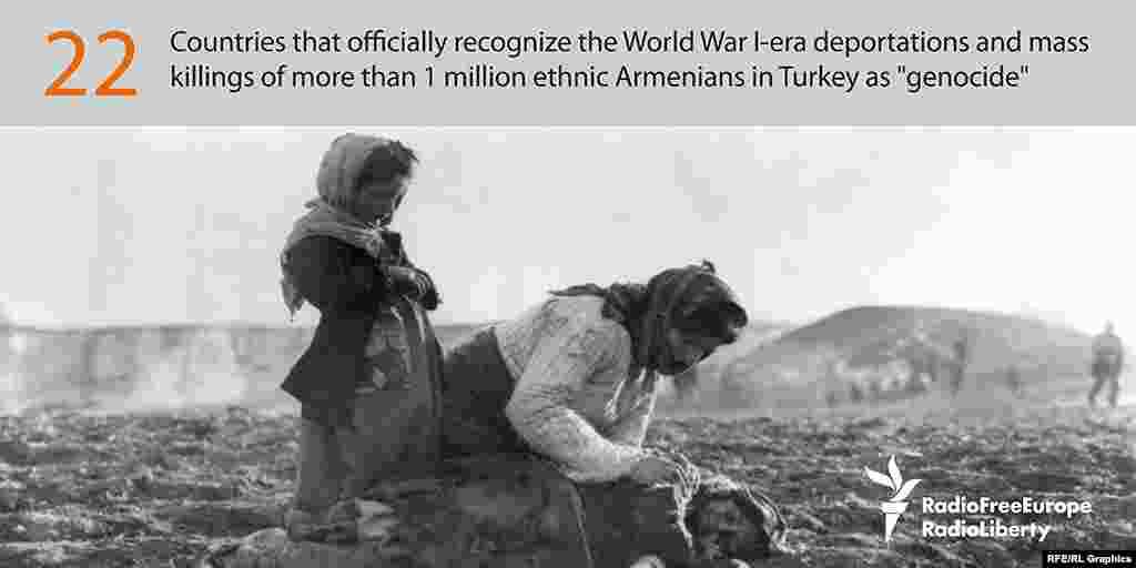 Осман империясының Бірінші дүниежүзілік соғыс кезінде армяндарды жаппай көшіруі мен өлтіруін 22 мемлекет геноцид деп таныған.