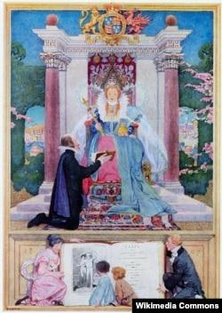 """Шекспир подносит свои пьесы Елизавете I. Фронтиспис книги Мэри и Чарльза Лэмбов """"Сказки Шекспира"""". 1922"""