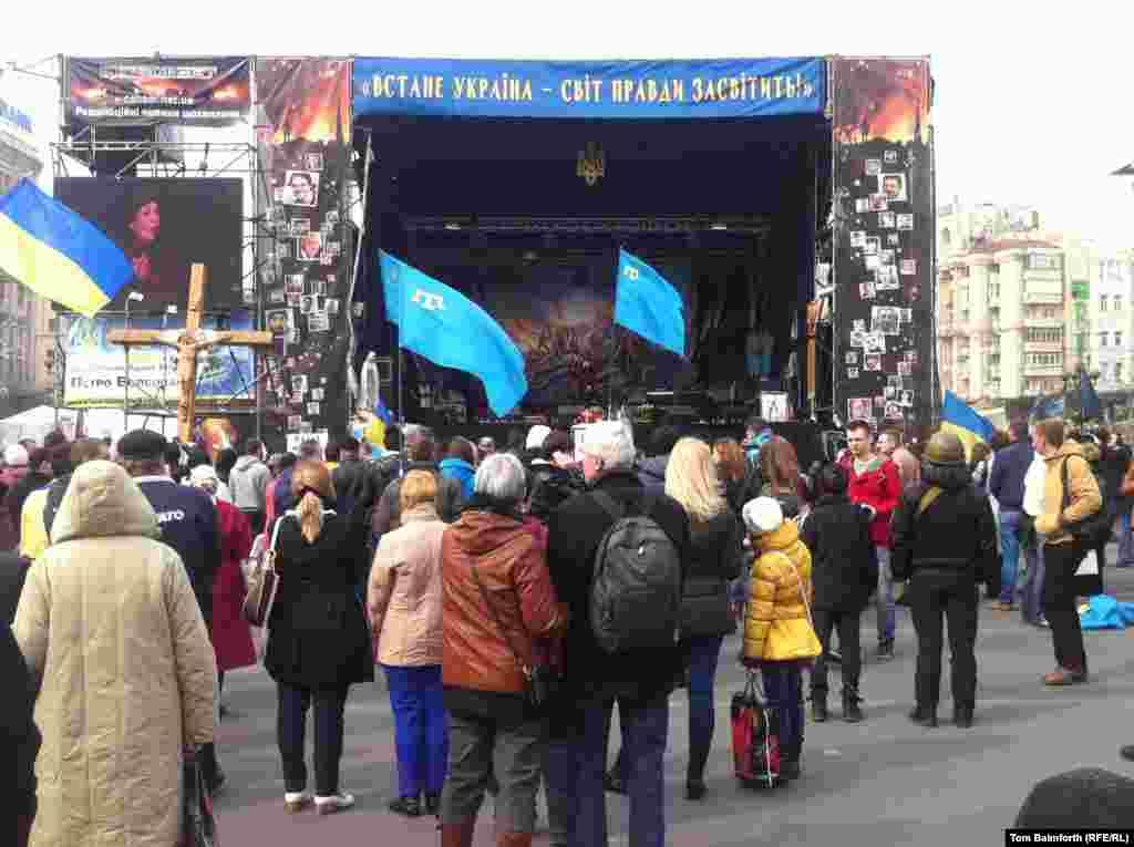 Tatars make a speech at the Maidan appealing for unity.