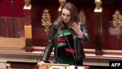 France -- French UMP right-wing ruling party MP for the Bouches-du-Rhône region, Valerie Boyer, who authored Armenian Genocide denial bill, delivers a speech at the French National Assembly, Paris, 22Dec2011
