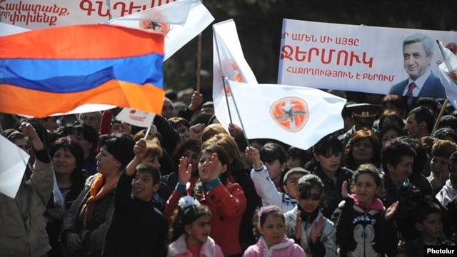 Armenia - The ruling Republican Party holds an election campaign rally in Jermuk, 18Apr2012.