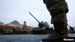 T-34 tanks are seen during a parade rehearsal in Red Square in Moscow in November 2012.