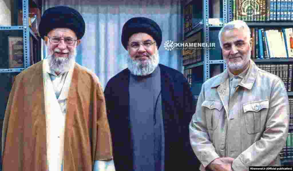 Soleimani appearing with Hizballah chief Hassan Nasrallah and Iranian Supreme Leader Ayatollah Ali Khamenei (left). Soleimani helped Iran strengthen its ties with Hizballah in Lebanon. Soleimani said he advised Hizballah during the 34-day war with Israel in 2006. More than 1,200 Lebanese and 160 Israelis were killed in the conflict.