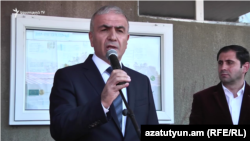 Armenia -- The newly appointed governor of Syunik, Hunan Poghosyan, addresses a rally in the province, October 19, 2018.