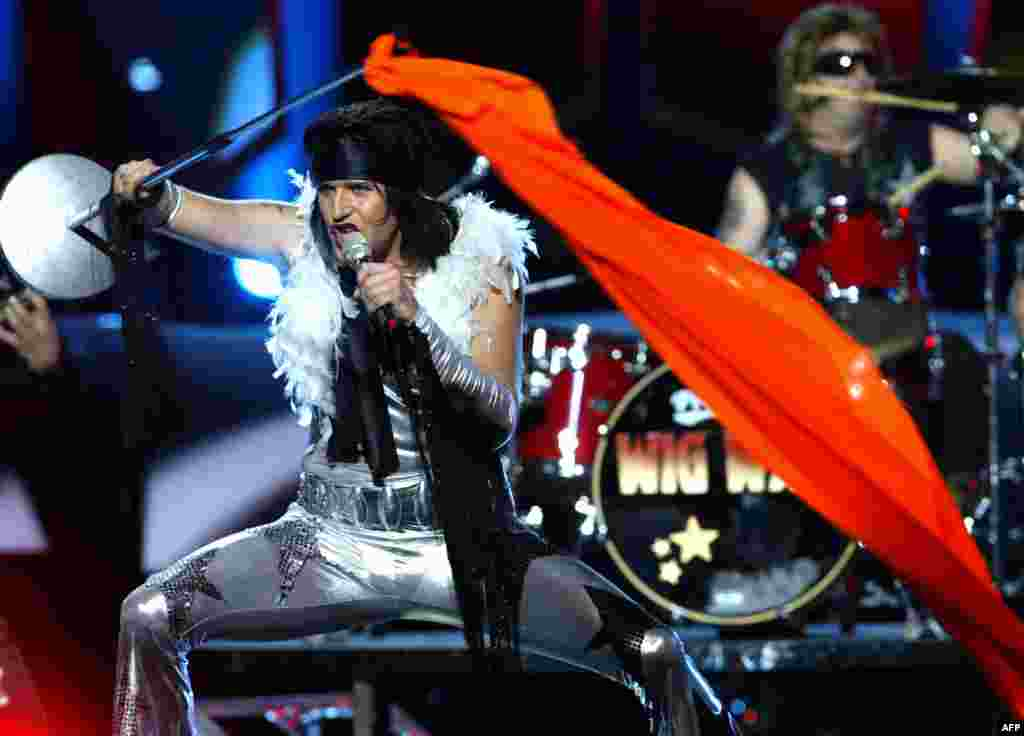 Some countries have been known to throw in a last-minute political gesture as a way of dodging Eurovision constraints. Wig Wam of Norway produced an orange flag to signal its support for host Ukraine in 2005.