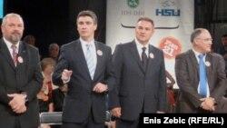 """Лидерите на опозициската коалиција """"Кукурику"""", која се очекува да победи на денешните парламентарни избори."""