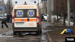 Харьковтегі жарылыс болған орын. 22 ақпан 2015 жыл.